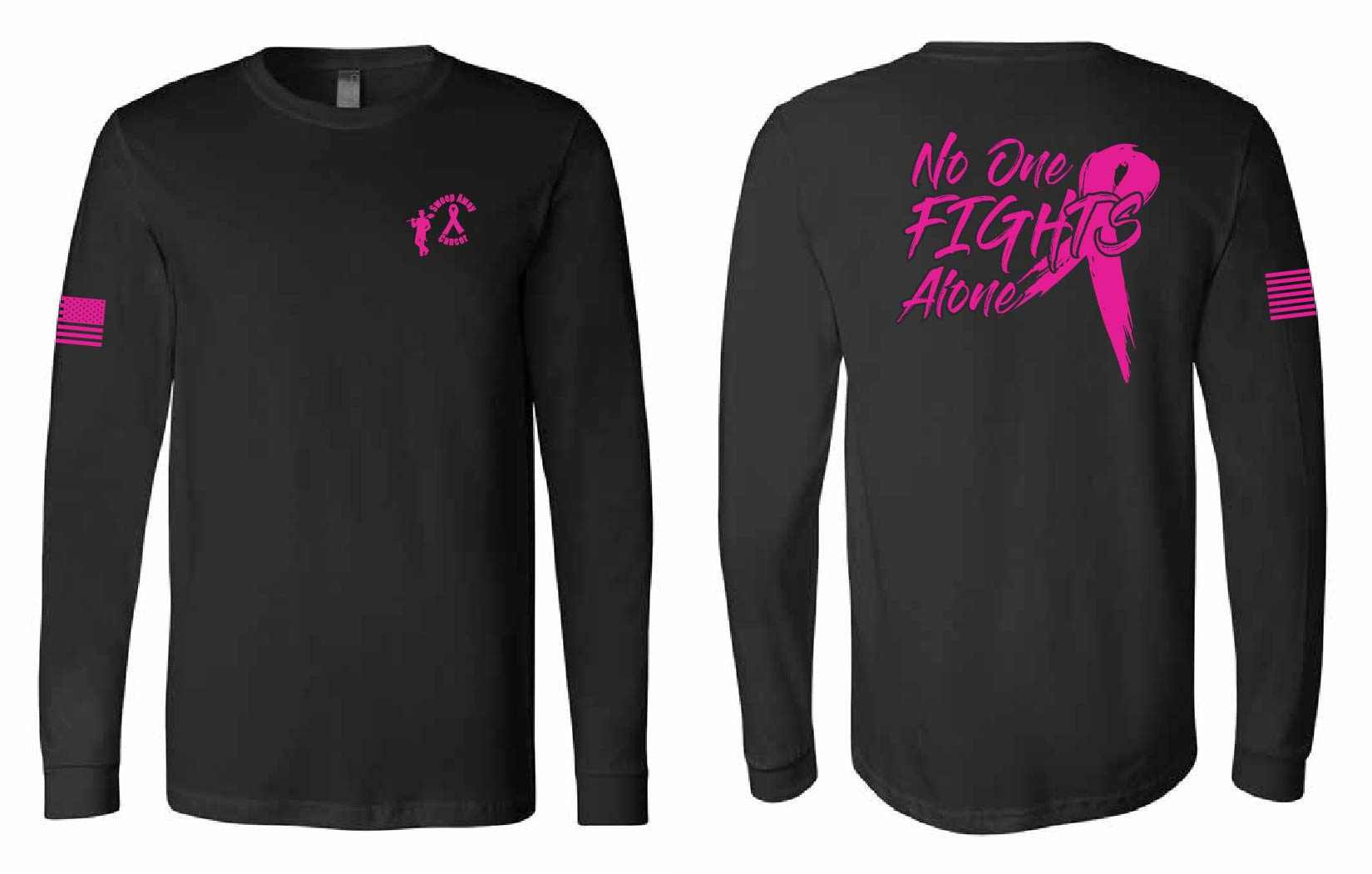 sweep away cancer no one fights alone long sleeve shirt